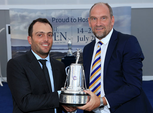 PORTRUSH, NORTHERN IRELAND - JULY 16: Francesco Molinari of Italy receives the AGW Golfer of the Year Award from Martin Dempster the chairman of the Association of Golf Writers during the Association of Golf Writers Annual Dinner and Awards at Royal Portrush Golf Club on July 16, 2019 in Portrush, Northern Ireland. (Photo by David Cannon/Getty Images)