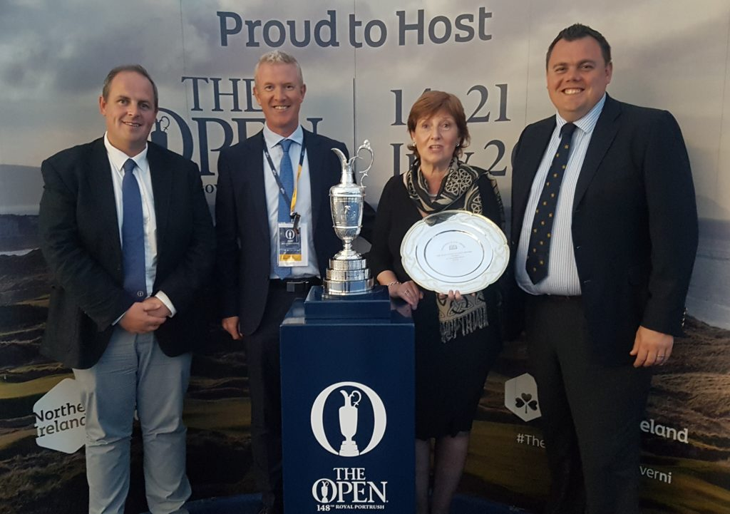 AGW award winner Wilma Erskine with Ardglass Secretary, Paul Vaughan, North & West Coast Links, John McLaughlin & Bert MacKay, Secretary/Manager at Castlerock GC