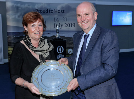 PORTRUSH, NORTHERN IRELAND - JULY 16: Wilma Erskine the secretary-manager of Royal Portrush Golf Club receives the Michael Williams AGW Services to Golf award from Roddy Williams during the Association of Golf Writers Annual Dinner and Awards at Royal Portrush Golf Club on July 16, 2019 in Portrush, Northern Ireland. (Photo by David Cannon/Getty Images)