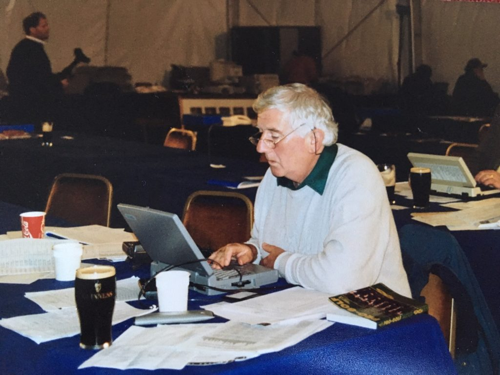 Colm Smith at a European Tour event in 1996 - Note the pints of Guinness not on Colm's table but also behind.