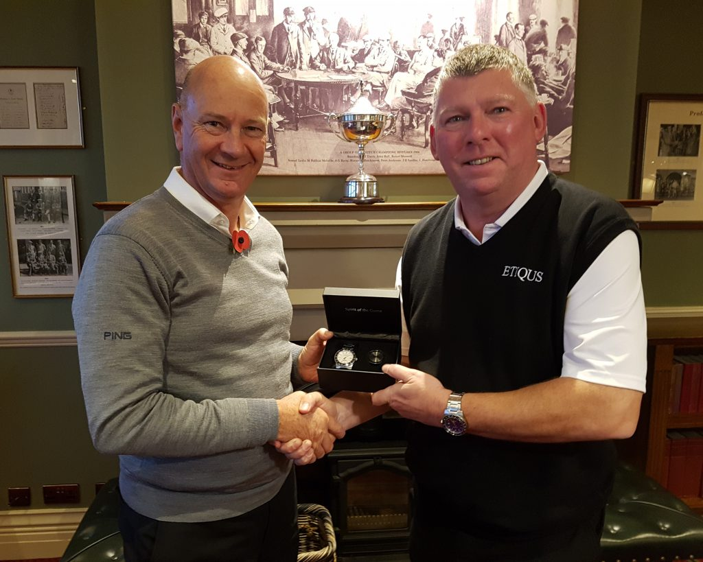 ETIQUS's Gary Bulter delighted to present Rob Perkins with his reward in being crowned 2018 AGW - ETIQUS Golfer of the Year.
