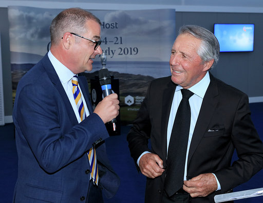 PORTRUSH, NORTHERN IRELAND - JULY 16: Gary Player of South Africa is interviewed by the master of ceremonies Iain Carter of BBC Radio 5 Live during the Association of Golf Writers Annual Dinner and Awards at Royal Portrush Golf Club on July 16, 2019 in Portrush, Northern Ireland. (Photo by David Cannon/Getty Images)