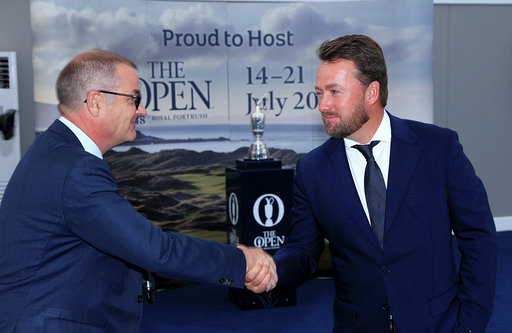 PORTRUSH, NORTHERN IRELAND - JULY 16: Graeme McDowell of Northern Ireland is interviewed by the master of ceremonies Iain Carter of BBC Radio 5 Live during the Association of Golf Writers Annual Dinner and Awards at Royal Portrush Golf Club on July 16, 2019 in Portrush, Northern Ireland. (Photo by David Cannon/Getty Images)
